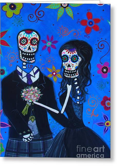 Bestfriend Greeting Cards - Dia De Los Muertos Special Wedding Greeting Card by Pristine Cartera Turkus