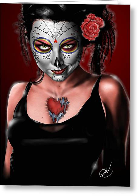 Skull Drawings Greeting Cards - Dia de los muertos The Vapors Greeting Card by Pete Tapang