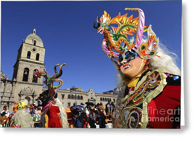 Latino Culture Greeting Cards - Diablada Dancer and San Francisco Church Greeting Card by James Brunker