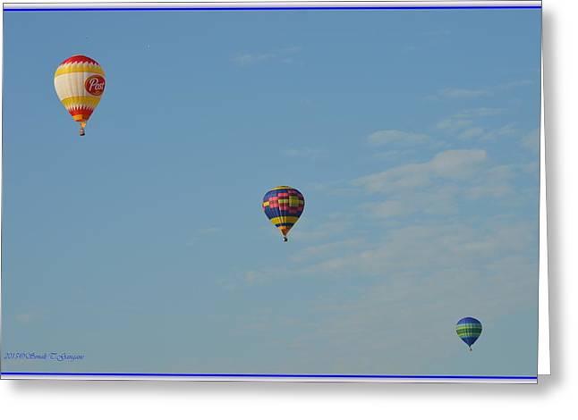Three Hot Air Balloons Greeting Cards - Diagonal Beauty in Air Greeting Card by Sonali Gangane