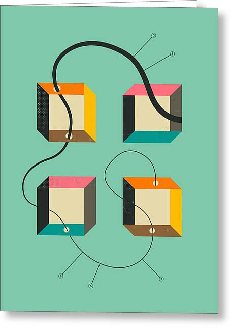 Modern Art Greeting Cards - Diagram 2 Greeting Card by Jazzberry Blue