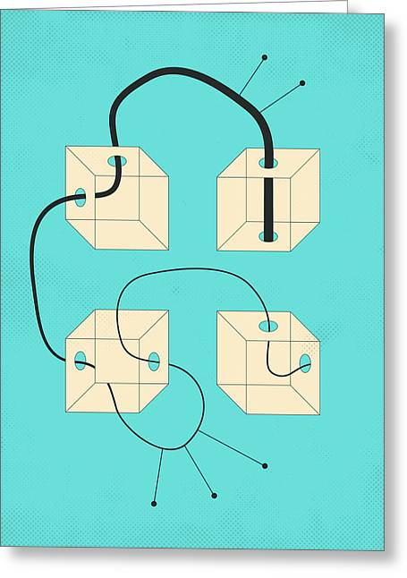 Modern Art Greeting Cards - Diagram 4 Greeting Card by Jazzberry Blue