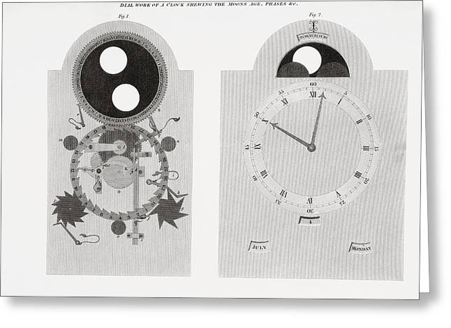 Mechanism Drawings Greeting Cards - Dial Work Of A Clock Showing Moon S Greeting Card by Vintage Design Pics