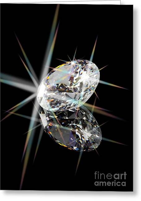 Refraction Greeting Cards - Diamond Greeting Card by Atiketta Sangasaeng