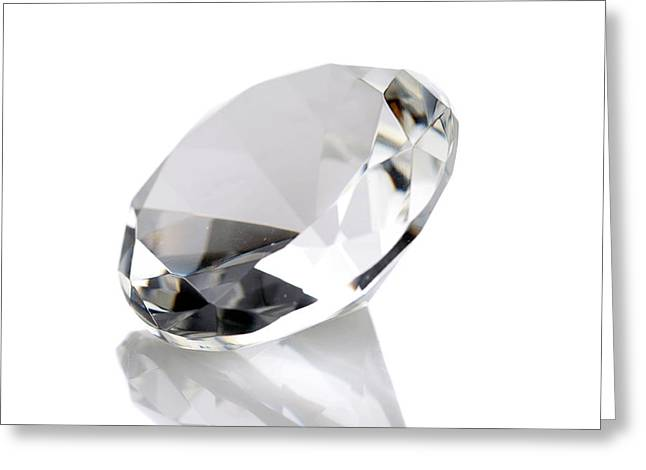 Value Greeting Cards - Diamond Isolated On White Greeting Card by Michael Ledray