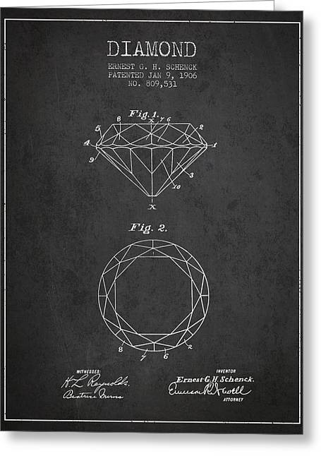 Diamond Patent From 1906 - Charcoal Greeting Card by Aged Pixel