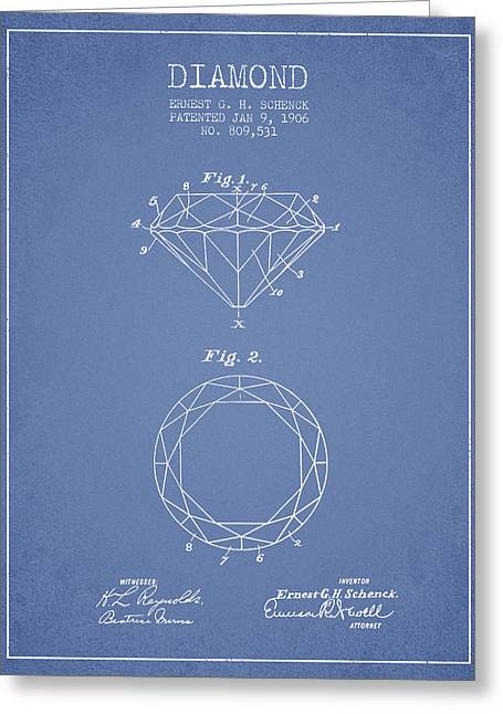 Gemstone Greeting Cards - Diamond Patent From 1906 - Light Blue Greeting Card by Aged Pixel