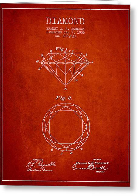 Gemstone Greeting Cards - Diamond Patent From 1906 - red Greeting Card by Aged Pixel