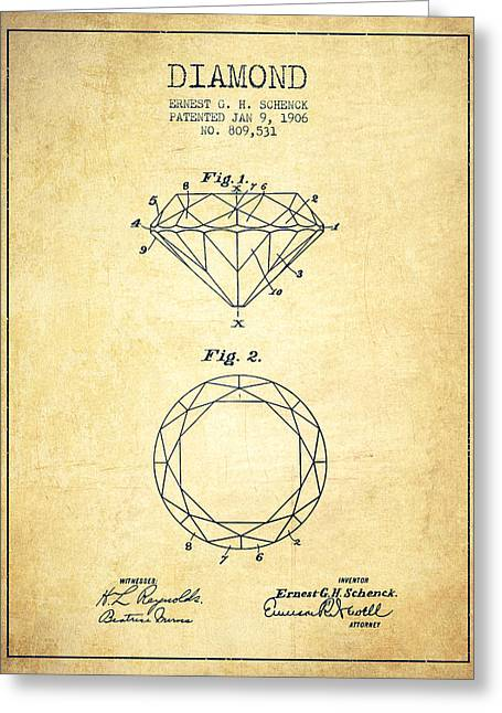 Gemstone Greeting Cards - Diamond Patent From 1906 - Vintage Greeting Card by Aged Pixel