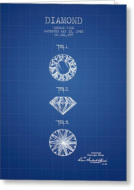 Diamond Patent From 1945 - Blueprint Greeting Card by Aged Pixel