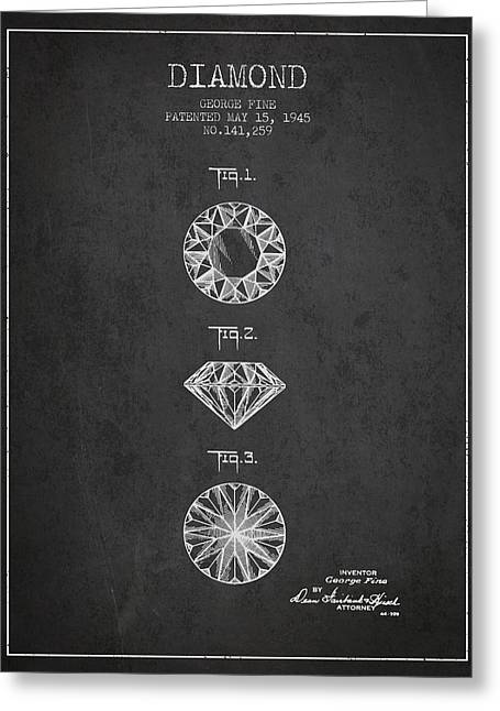 Diamond Ring Greeting Cards - Diamond Patent From 1945 - charcoal Greeting Card by Aged Pixel