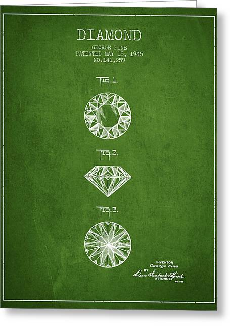 Diamond Ring Greeting Cards - Diamond Patent From 1945 - Green Greeting Card by Aged Pixel