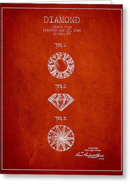 Diamond Ring Greeting Cards - Diamond Patent From 1945 - red Greeting Card by Aged Pixel