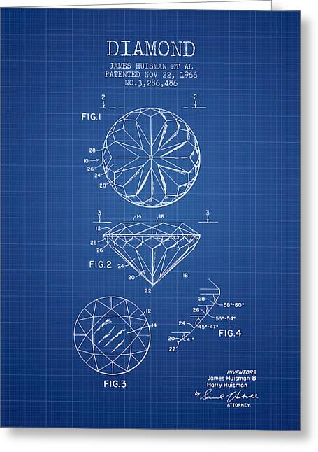 Diamond Patent From 1966- Blueprint Greeting Card by Aged Pixel