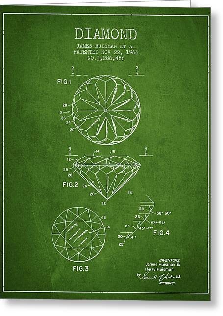 Bracelet Greeting Cards - Diamond Patent From 1966- green Greeting Card by Aged Pixel