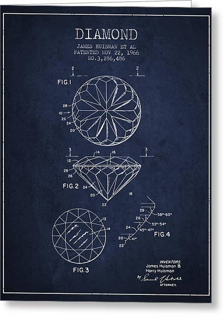 Diamond Ring Greeting Cards - Diamond Patent From 1966- navy blue Greeting Card by Aged Pixel