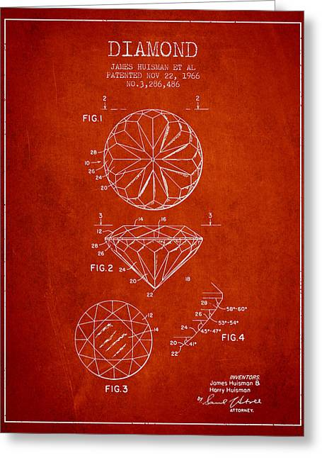 Diamond Patent From 1966- Red Greeting Card by Aged Pixel