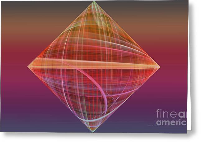Framed Fractal Prints Greeting Cards - Diamond Ripple Greeting Card by Deborah Benoit