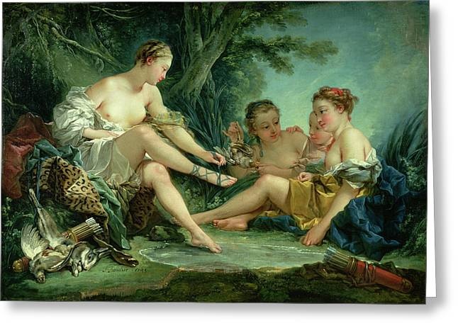 Boucher; Francois (1703-70) Greeting Cards - Diana after the Hunt Greeting Card by Francois Boucher