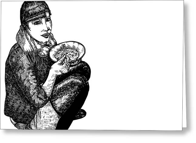 Lady Diana Greeting Cards - Diana Eating Greeting Card by Karl Addison