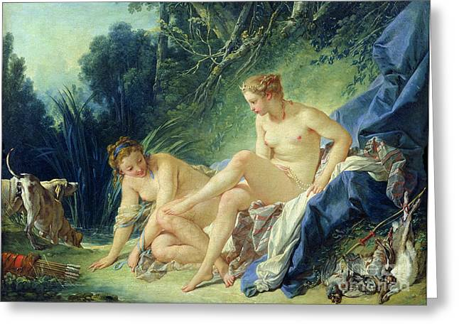 Hare Greeting Cards - Diana getting out of her bath Greeting Card by Francois Boucher