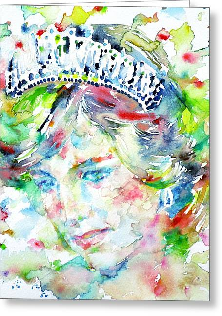 Princess Diana Greeting Cards - DIANA - PRINCESS of WALES - watercolor portrait Greeting Card by Fabrizio Cassetta