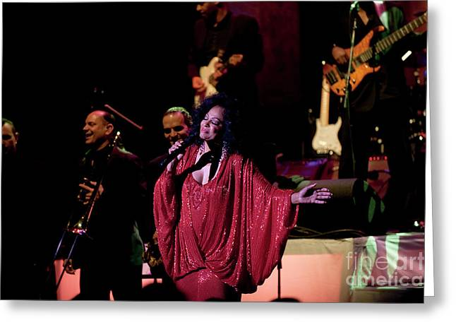 Diana Ross Greeting Cards - Diana Ross and Band Greeting Card by Enid Farber
