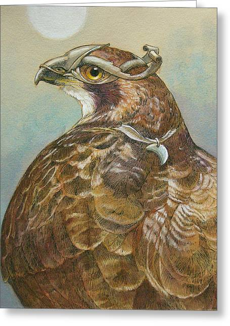 Hawk Bird Greeting Cards - Diana Greeting Card by Tracie Thompson