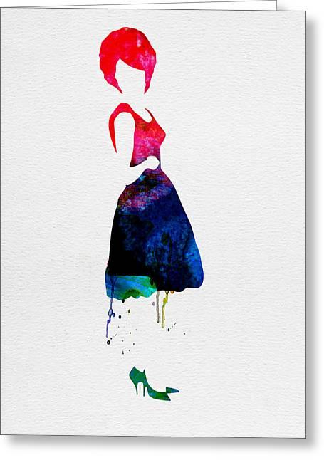 Rock Star Prints Greeting Cards - Diana Watercolor Greeting Card by Naxart Studio