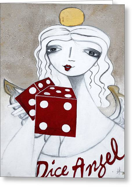 Dice Angel Greeting Card by Beti Kristof