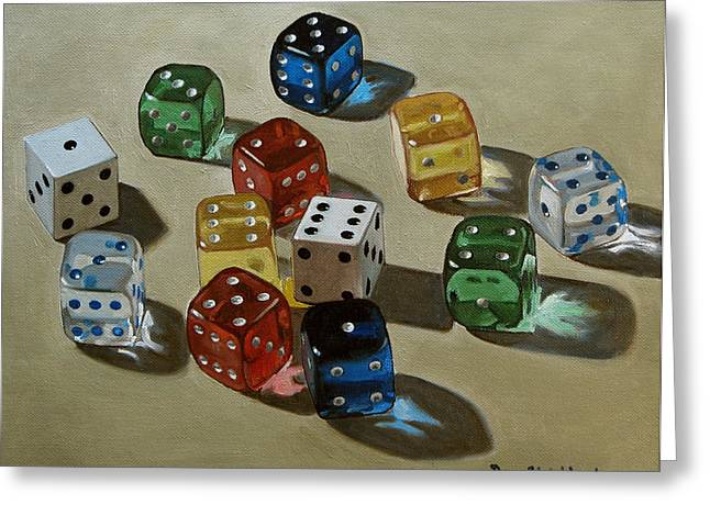 Dice Greeting Card by Doug Strickland