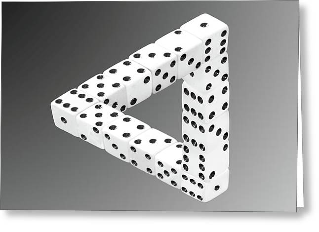 Tricks Greeting Cards - Dice Illusion Greeting Card by Shane Bechler