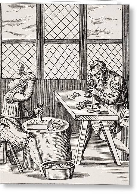 Apparel Greeting Cards - Dice Maker. 19th Century Reproduction Greeting Card by Ken Welsh