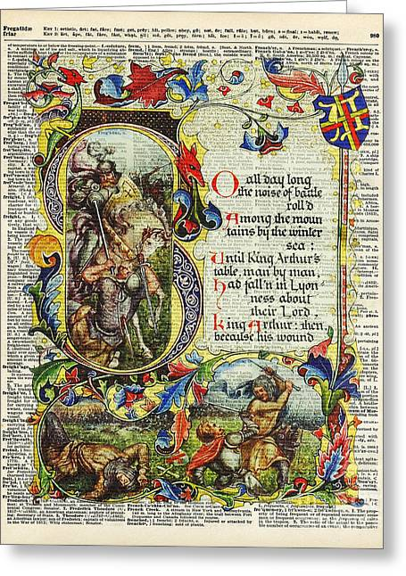 Upcycle Greeting Cards - Dictionary Art - King Artur Story book  Greeting Card by Jacob Kuch