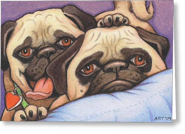 Dog Pencil Greeting Cards - Did Someone Say Cookie Greeting Card by Amy S Turner