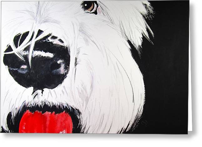 Puppies Paintings Greeting Cards - Did You Say Cookie? Greeting Card by Carol Blackhurst