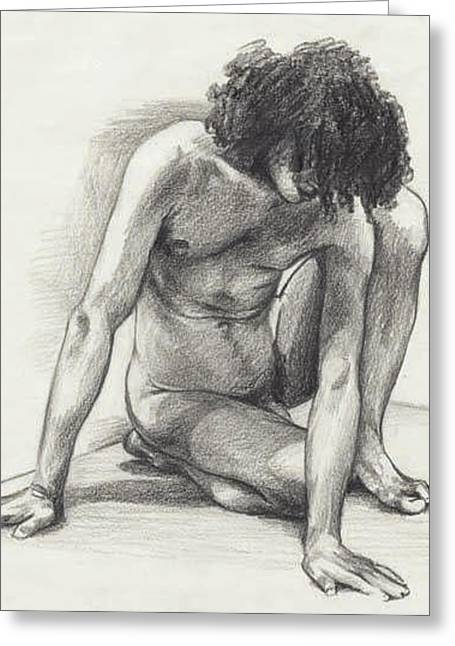 Conte Pencil Drawings Greeting Cards - Didier - London Greeting Card by Amy S Turner
