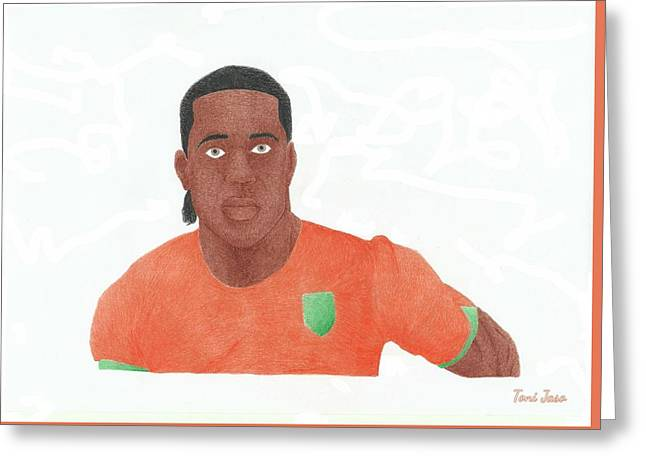 Player Drawings Greeting Cards - Didier Drogba Greeting Card by Toni Jaso