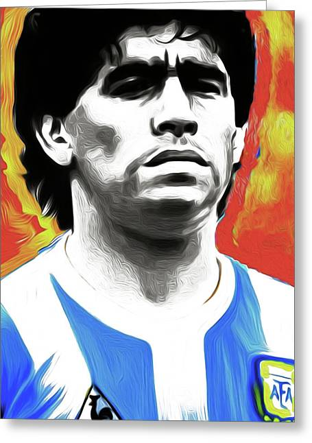 Diego Maradona By Nixo Greeting Card by Nicholas Efthimiou Nixo