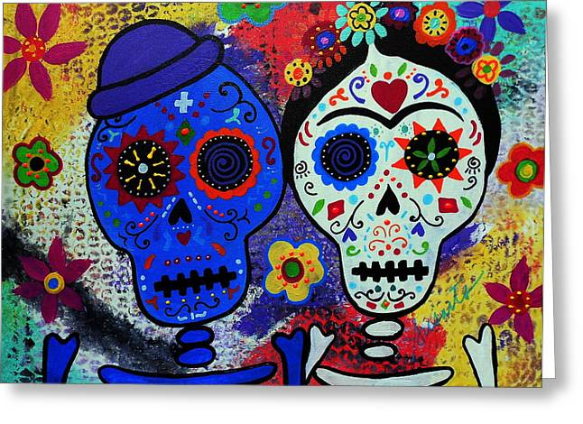 Carter House Greeting Cards - Diego Rivera And Frida Kahlo Dia De Los Muertos Greeting Card by Pristine Cartera Turkus