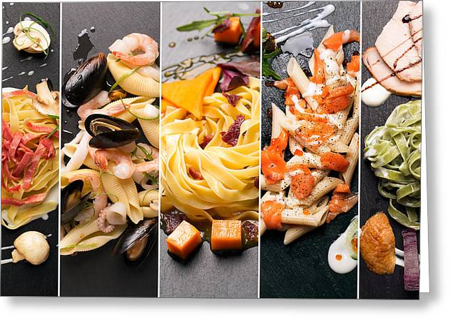 Different Photos Of Italian Pasta Greeting Card by Vadim Goodwill