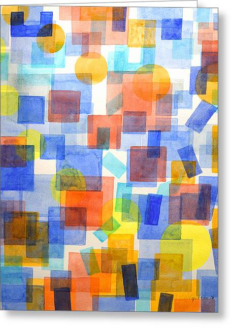 Abstract Shapes Greeting Cards - Different Things Fall Differently Greeting Card by Heidi Capitaine