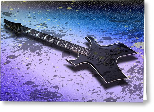 Modern Digital Art Digital Art Greeting Cards - Digital-Art E-Guitar II Greeting Card by Melanie Viola
