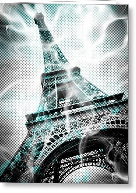 Digital-art Eiffel Tower Paris Greeting Card by Melanie Viola
