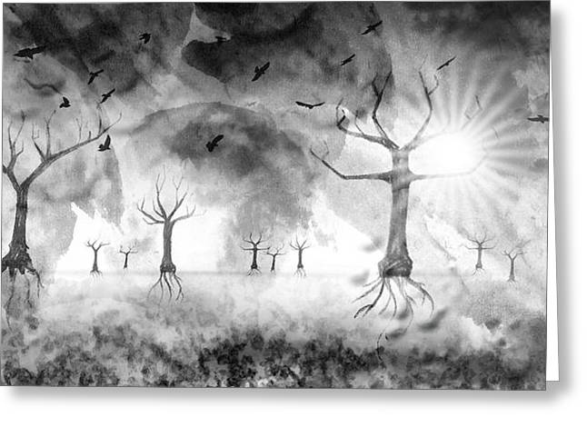 Grey Clouds Digital Art Greeting Cards - Digital-Art Fantasy Landscape III Greeting Card by Melanie Viola