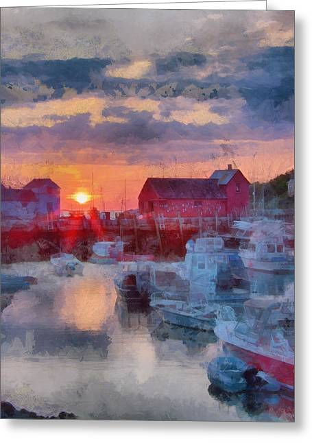 New England Ocean Greeting Cards - Digital art of dawn over Rockport Greeting Card by Jeff Folger