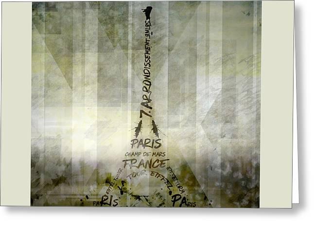 Digital-art Paris Eiffel Tower Geometric Mix No.1 Greeting Card by Melanie Viola