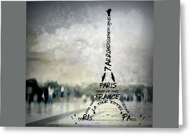 Digital-art Paris Eiffel Tower No.2 Greeting Card by Melanie Viola