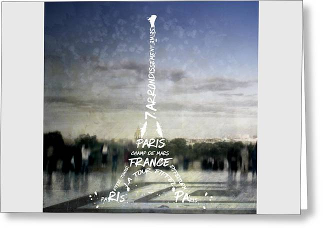 Digital-art Paris Eiffel Tower No.4 Greeting Card by Melanie Viola