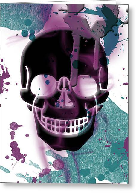 Composition Mixed Media Greeting Cards - Digital-Art Skull and Splashes Panoramic Greeting Card by Melanie Viola